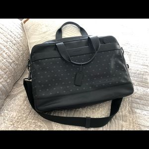 Coach navy soft leather business case